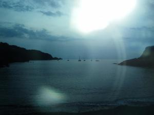 Beach and Harbour at Combe Martin at sunset